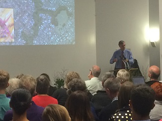 Bruce Clarkson speaks to the crowd at the Biodiversity HB launch