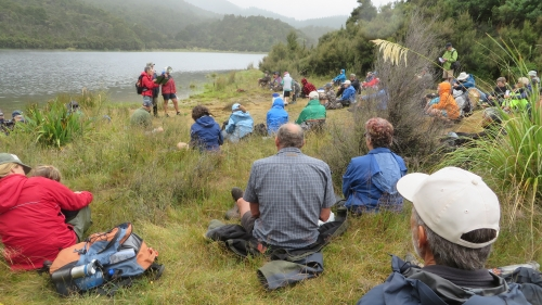 Listening to expert talks at Kaweka Lakes Nathan Burkepile.